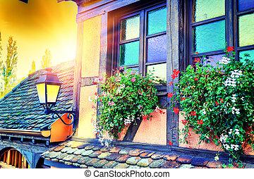 rahmen, house., frankreich, traditionelle , elsaß, details, ...