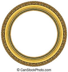 rahmen, oval, gold, bild