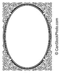 rahmen, schwarz, kalligraphie, oval, barock, kalligraphie