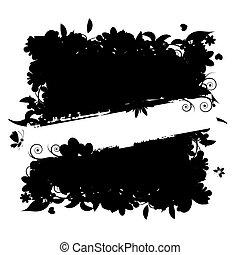 rahmen, text., silhouette., ort, blumen-, dein