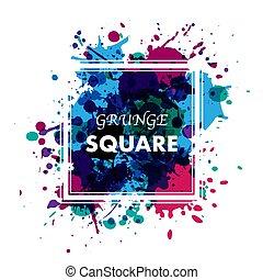 rahmen, tinte, grunge, blots, quadrat