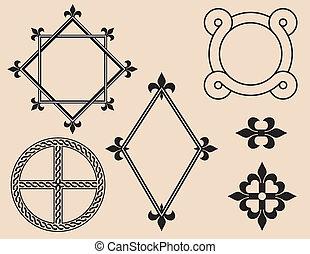 rahmen, und, dekorative elemente