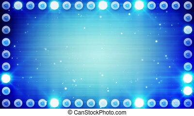 rahmen, von, blaue beleuchtung, birnen, schleife