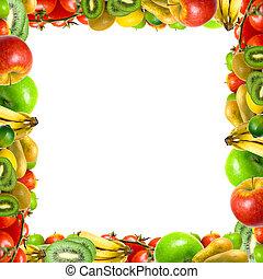 rahmen, von, früchte gemüse