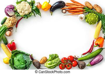 rahmen, von, gemischt, frische gemüse