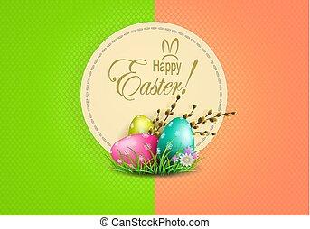 rahmen, weide, eier, mehrfarbig, zusammensetzung, zweig, ostern, runder