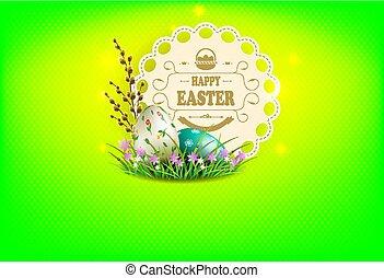 rahmen, weide, eier, zusammensetzung, grün, zweig, ostern, runder