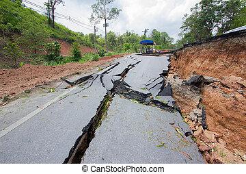 rai, 壊される, chiang, タイ, 地震, 道