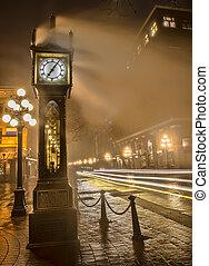 raias, relógio, luz carro, gastown, vapor