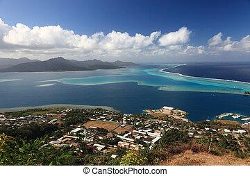 Raiatea and Tahaa Lagoon in French Polynesia from above. .
