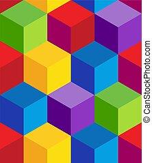Raibow 3D Cube Pattern