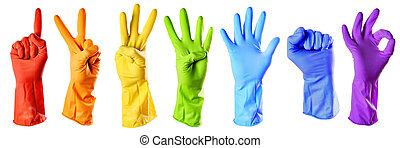 raibow color rubber gloves on white with clipping path