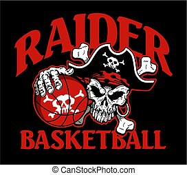 raider basketball team design with mascot skull holding ball for school, college or league