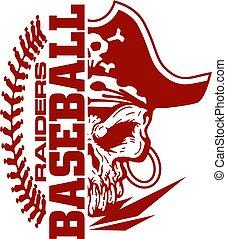 raiders baseball team design with stitches and half mascot...
