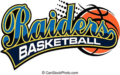raiders basketball team design in script with ball for school, college or league