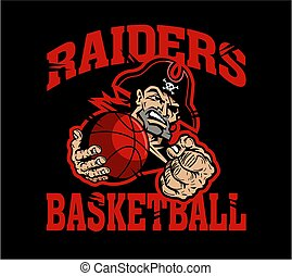 raiders basketball team design with mascot holding ball for school, college or league