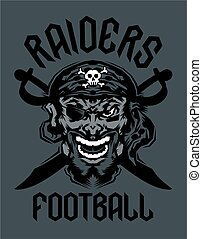 raiders football team design with mascot and crossed swords for school, college or league