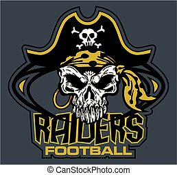 raiders football team design with mascot skull inside ball for school, college or league