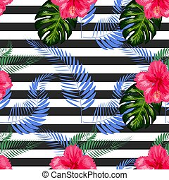 raie, fleurs tropicales, seamless, brosse, modèle, fond
