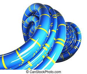 raies bleues, jaune, perspective, fond, blanc, câbles