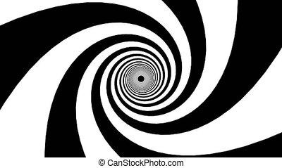 raies, generated., blanc, hypnotique, rendre, fond, noir, entonnoir, dynamique, formulaire, 3d, informatique