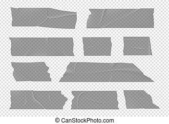 raies, tape., morceaux, adhésif, collant, réaliste, vecteur, paquet, isolé, ensemble, vide, transparent, scotch., colle, pansements