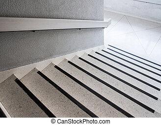 rail., 大理石, 白, 階段, 金属