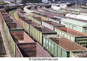 rail, cars., vide, lot
