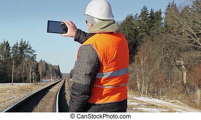 rail, filmé, ferroviaire, ingénieur