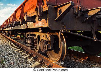 Rail freight car close-up