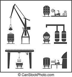 Rail freight cars and cargo systems. Vector illustration
