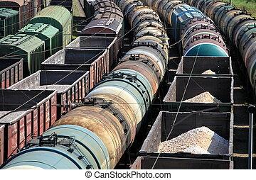 rail freight - A train yard full of freight trains High...