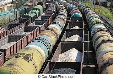 rail, huile, transport, produits