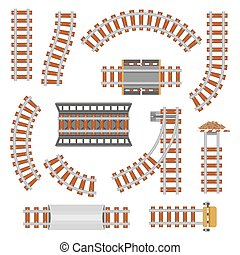 Rail or railroad, railway top view. Train transportation track made of steel and wood, rail wavy or curvy, straight connections. Locomotive railroad or path, railway, rail top view. Train station theme