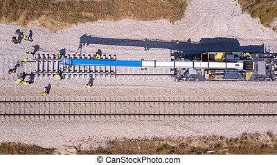 rail, process., réparation, entretien, railway., pistes