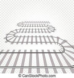 Rail railroad track vector illustration. Railway train isolated. Winding path road.