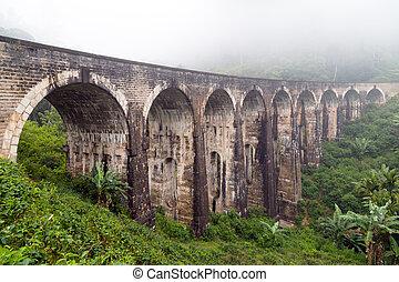 Rail road bridge Demodara Nine Arch Bridge morning mist,...