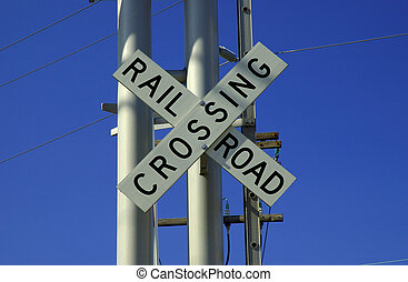 Rail Road Crossing - Photo of a Rail Road Crossing Sign