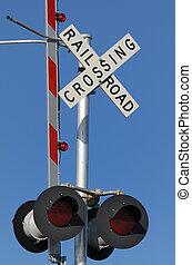rail road crossing against a blue sky