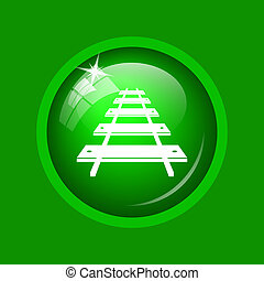 Rail road icon. Internet button on green background.