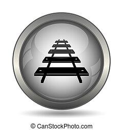 Rail road icon, black website button on white background.