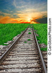 Rail road leading to the sunset - Rail road and sunset