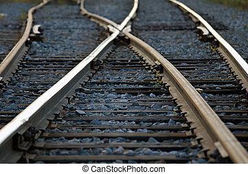 Rail road tracks crossing each other