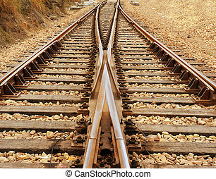 Rail Road Tracks - electrical. Looking down the train tracks