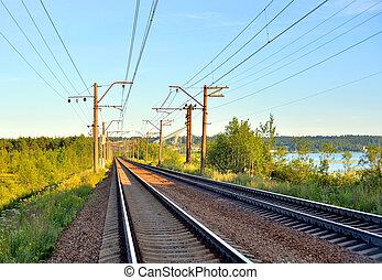 Rail road tracks. - Rail road tracks in the countryside,...