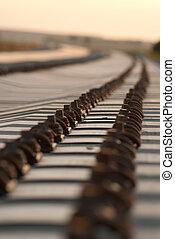 Train tracks going into the horizon