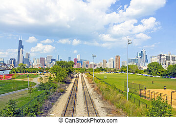 Rail Road with Chicago in Background
