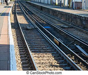 Rail tracks in bright summer day