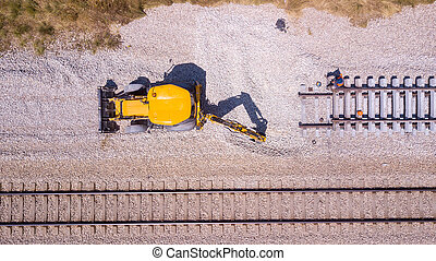 Railroad workers repairing a broken track. Repairing railway.