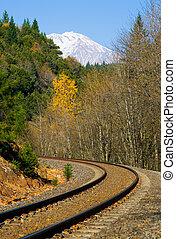 Rail tracks through the mountains
